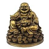 Petrichor Feng Shui lachender Buddha, der auf glücklichen Geldmünzen trägt Goldbarren für gutes Glück u. Glück sitzt (5 Zoll)