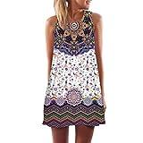Vestido corto sin mangas con estampado de playa de verano de Boho para mujer sin mangas ABsolute (XXXL, Púrpura )