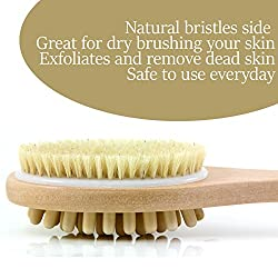 Bath Blossom Natural Bristle Body Brush - Exfoliating Scrub Brush - Effective For Wet & Dry Body Brushing - Long Handled -Suitable For Men & Women