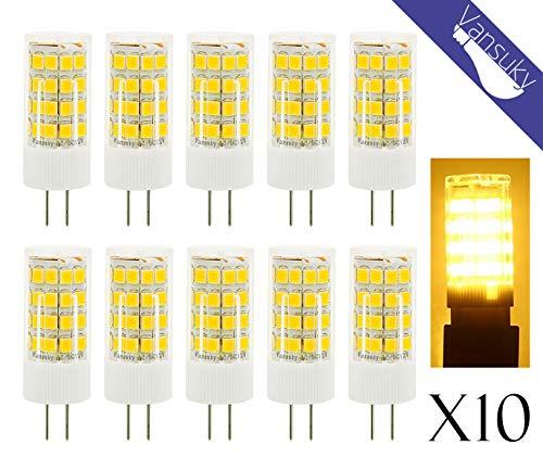 Vansuky 10er 4.5W G4 LED Lampe ersetzt 35W~40W Halogen Lampen, AC/DC 12V 380lm Warmweiß 3000K 51 SMD2835 360° Abstrahlwinkel ,G4 LED Leuchtmittel Rundstrahler Birne. -
