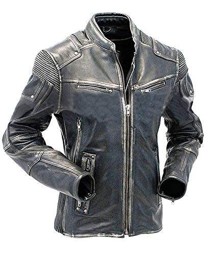 2e4ce7c19 Giacca in Pelle Union Jack | Cafe Racer Leather Jacket | Uomo Giacca di  Pelle