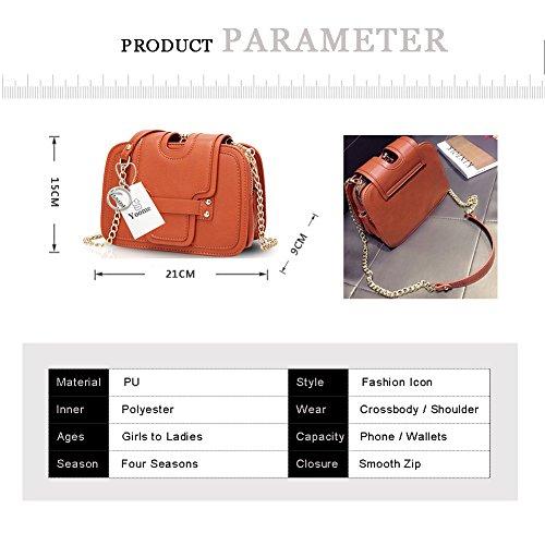 Yoome Ketten Flap Tasche Lichee Pattern Beiläufige Taschen Für Frauen Crossbody Taschen Für Mädchen - Rot Rot