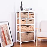 6 Drawer Baskets White Wide Functional Wooden Hyacinth and Seagrass Mixed Blend Baskets Cabinet Storage Unit FULLY ASSEMBLED Quality Chest of drawers (White)