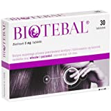 BIOTEBAL Biotin 5mg Extra Strength - 30 tablets - Strengthens Hair Growth Support - Stop Hair Loss Breakage Thinning Hair Relief Hair Skin Nails Vitamin B7 H Treatment from Polpharma