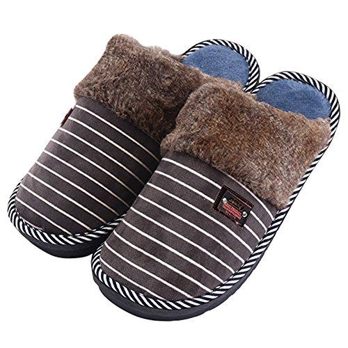 Erwachsene Plüsch Hausschuhe, Winter Wärme Indoor Pantoffeln, Großer Home Rutschfeste Weiche Leicht Baumwolle Slippers für Herren (47/48, Grau)