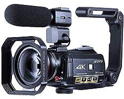 Caméra vidéo 4K ORDRO WiFi Ultra HD Vlog Camera pour Youtube, Vision Nocturne IR Enregistreur vidéo avec Microphone, Objectif