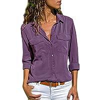 ¡Gran promoción!★Rovinci★Blusa para Mujer Color sólido Casual Manga Larga Bolsos con Cuello bajados Botón Frontal con Camiseta Tops