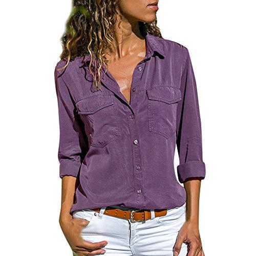 ITISME FRAUEN BLUSE Damen Casual Langarm FarbblockFrauen Langarm-T-Shirt mit V-Ausschnitt (groß, Lila)