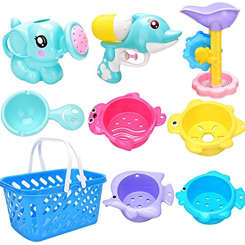Baby Badespielzeug 9 Stücke Bad Dusche Spielzeug Geschenk Set Kinder Wasser Spiel Strand Spielzeug Bad Baden Eltern-Kind-Interaktion Wasser Spritzen Spielzeug (Für Geschenke Baby-dusche-spiele)
