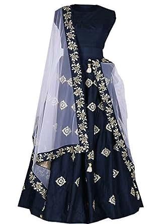 ethnic vila women's tafeta silk long lehenga choli(pinky blue)