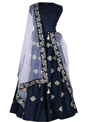 Vastra VIlla Women's Taffeta Anarkali Lehenga Choli(Pinky_Blue_Blue_Free size)