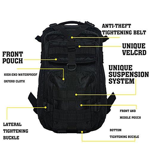 Imagen de hukoer  táctica impermeable de moda 28l para excursionismo montañismo senderismo y viaje al aire libre macuto militar y deportiva de alta calidad bolsa de viaje negro  alternativa