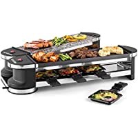 Klarstein Tenderloin 50/50 Raclette Grill (1200W, 8 People, Natural Stone, Innovative 360 ° Base Station with 2-Grill, Free Positioning of the Grill Halves)