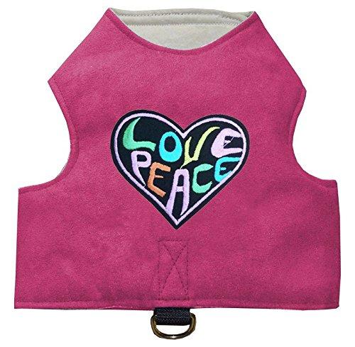 Katzengeschirr mit Katzenapplikation Klett einstellbar easy walking jacket pink love and peace Größen S - L (Medium)