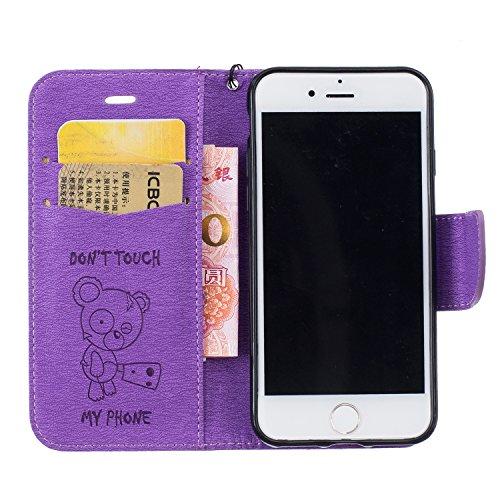 iPhone 7Custodia, Custodia iPhone 7Custodia a portafoglio, toyym Ultra Sottile Flip [Portafoglio in pelle Custodia] con porta per carte di credito e supporto, Carino Birra Don t Touch My Phone libr Purple