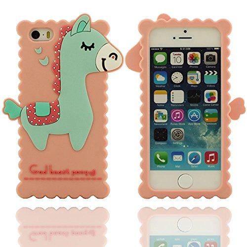 iPhone 5 Hülle,iPhone 5 case cover,Individualität Design-verschiedene Gott Tier Pony weichen Silikon-Schutzhülle für das Apple iPhone 5 5S 5G Hülle (blau) pink