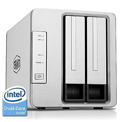 TerraMaster F2-220 2-Bay NAS Drive Enclosure Intel Dual Core 2.41GHz 2GB RAM PLEX DLNA Media Server Personal Cloud Storage Support