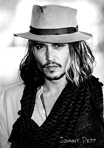 Póster de Johnny Depp con sombrero y pelo largo, color blanco y negro