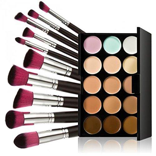 15-Couleurs Palette Anticernes+10pcs Ensemble de Maquillage Brosse Pinceaux Cosmétiques avec Pochette Noir - Argent rose