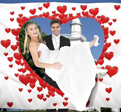 Hochzeitsherz zum Ausschneiden für das Brautpaar inkl. 2 Nagelscheren. Bedrucktes Bettlaken das Hochzeitsspiel für Braut und Bräutigam.