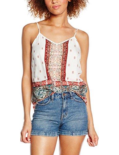 VERO MODA Damen VMLUPITA Singlet Top, Mehrfarbig (Snow White AOP:Lupita Comb), 38 (Herstellergröße: M) - Forever Juniors T-shirt