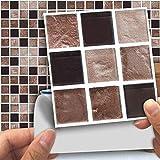 Rameng 18Pcs Mosaïque Carrelage Mural Autocollants Carrelage Stickers Carrelage Cuisine et Salle de Bains (A)