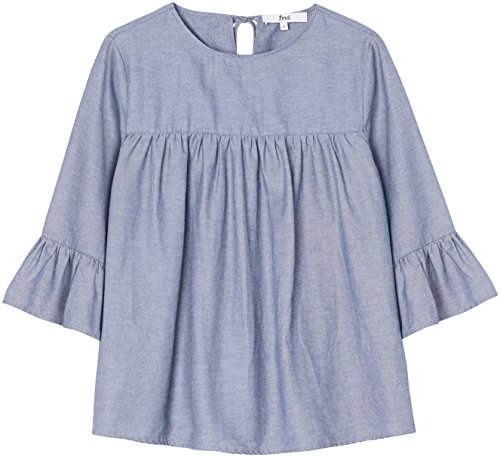 FIND Damen Bluse mit Rüschen aus Chambray, Blau (Blue), Medium