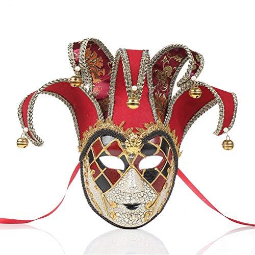 Kostüm Red Jester - Performance Maske, Jester Kostüm für Karneval, Maskerade Kostümzubehör, Einheitsgröße,Red