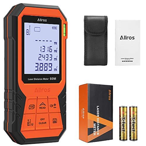 ALLROS Telemetro Laser 60M / 197ft Misuratore Laser Digitale con Display LCD Retroilluminato Misura Distanza Area e Volume Modalità Pitagorica Funzione Muto IP54 Batteria Inclusa