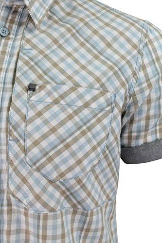 Polo pour homme Par Bench 'Urbitz B'à manches courtes Motif carreaux Bleu - Bleu clair