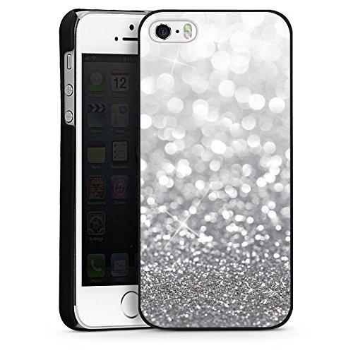 Apple iPhone 4 Housse Étui Silicone Coque Protection Argent Paillettes Bling-bling CasDur noir