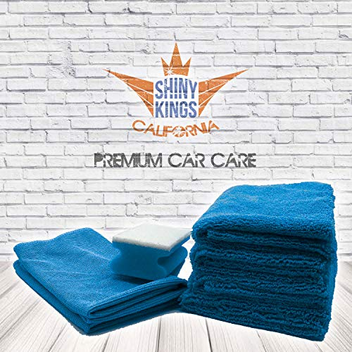 Shinykings Wash&Shine Auto-Pflege, Auto-Reinigung, Motorrad, Motorradpflege, Reinigungstuch und Schwammset Premium XXL