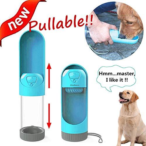 Hund Wasserflasche Unterwegs, Jresboen [Innovation] Teleskop-Design Hundetrinkflasche Hundewasserflasche Hundeflasche für Unterwegs Reisen Tragbare Trinkflasche für Haustier Hund Flasche (300ml)(Blau)