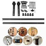 Homgrace Schiebetürbeschlag 6,6FT/2M Schiebetür Laufschiene Hängeschiene Schiebetürsystem Tür-Hardware-Kit für Schiebetüren Innentüren