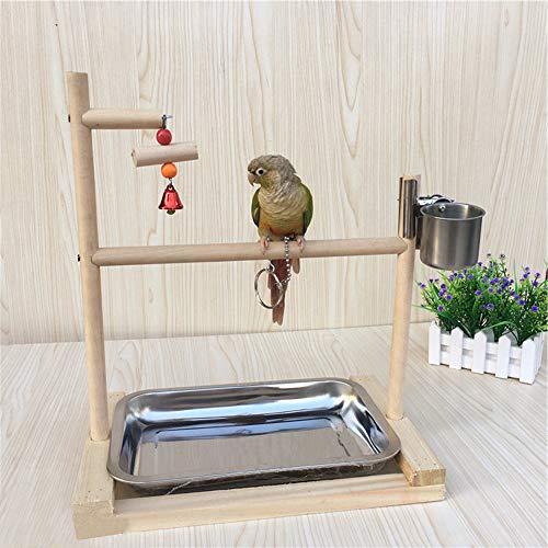 FJROnline Papagei Desktop Stand Papagei Playstand Vogel Spielplatz Holzleiter Spielzeug (A)