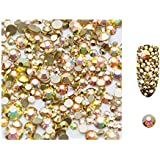 S.A.V.I 5g/Pack Ab Glass Rhinestones Stones Shiny Gems Manicure Accessories Gold Flatback Mixed Sizes For Nail Art Decoration (Gold Glass), Multicolor, 2 g