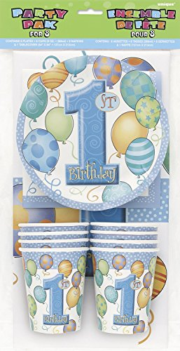 Unique-Party-23947-Confezione-per-Festa-di-Primo-Compleanno-Palloncini-Blu-per-8-Ospiti