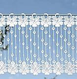 duftige Scheibengardine' Blume' 30 x 125 cm weiß