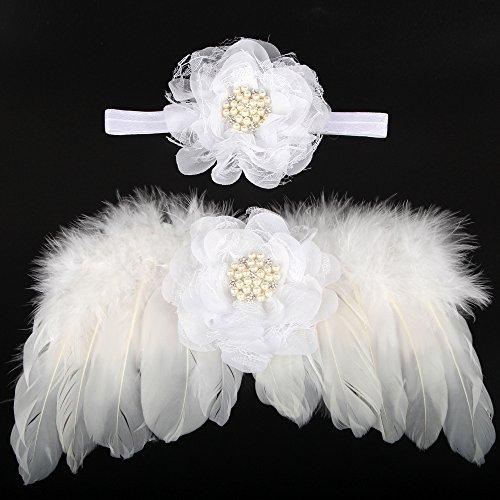 UGUAX Baby Newborn Fotografie Requisiten Feder Engel Flügel und Strass Stirnband Set Foto Requisiten Kostüm weiß