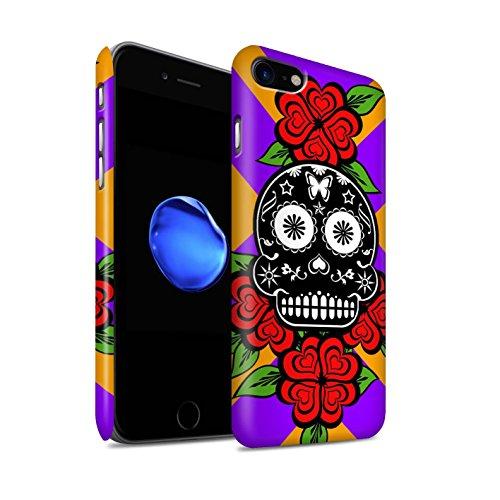 STUFF4 Matte Snap-On Hülle / Case für Apple iPhone 8 / Gelb Muster / Süßigkeiten Schädel Kollektion Schwarze/Rose