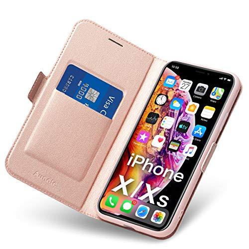 Hülle iPhone X, iPhone XS Schutzhülle mit Kartenfach und Ständer, iPhone X Tasche Leder, Phone 10 Handyhülle, Etui Folio Flip Cover Case, PU TPU Klapphülle, Komplettschutz Apple X/XS 5.8 Zoll Rosegold