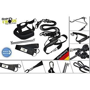 BodyCROSS PREMIUM Schlingentrainer mit Türanker und Zertifikat (InBuB-Siegel) | Schlingentraining Set | Poster mit Übungen, Trainingsplan, Befestigung | abnehmbare Griffe und Fußschlaufen | 10 Jahre Garantie