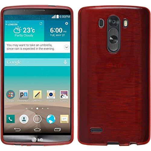 PhoneNatic LG G3 Hülle Silikon rot brushed Case G3 Tasche + 2 Schutzfolien