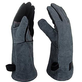 APOGO Ofenhandschuhe Backhandschuhe Grillhandschuhe Handschuhe 1 Paar Leder Grill Handschuhe 41x15X1.5cm Wildleder, mit Aufhängung, Topflappen für Küche und Grill Grillplatz Mikrowelle Handschuhe Schweißen