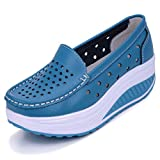Solshine Damen Leder Atmungsaktiv Loafers Freizeitschuhe Plateau Keilabsatz blau 36 EU / 3.5 UK / 5.5 US