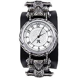 Alchemy Gothic Thorgud Ulvhammer Reloj peltre (libre de niquel), piel