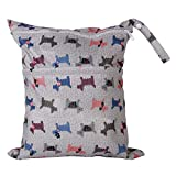 Lyanther Baby-Windel-Beutel-Doppelte Fach-Wasserdichte Waschbare Wiederverwendbare Speicher-Beutel-Baby-hängenden Windel-Tasche mit Zwei Reißverschlusstaschen-Taschen-Hundemuster