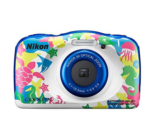 Nikon Coolpix W100 13.2 MP Point and Shoot Digital Camera (Marine) with 3X Optical Zoom, Card and Camera Case
