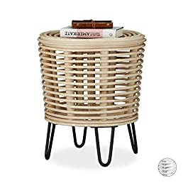Relaxdays 10021509_126 rotin, Pouf rond, tabouret design, repose, fauteuil tressé 4 pieds, nature, 44x40x40