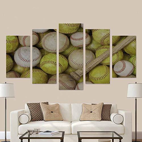 LIS HOME Baseballs Softballs und eine Fledermaus 5 Stück Leinwand Kunstwerke Gemälde Wandkunst für Hauptdekorationen mit Rahmen -